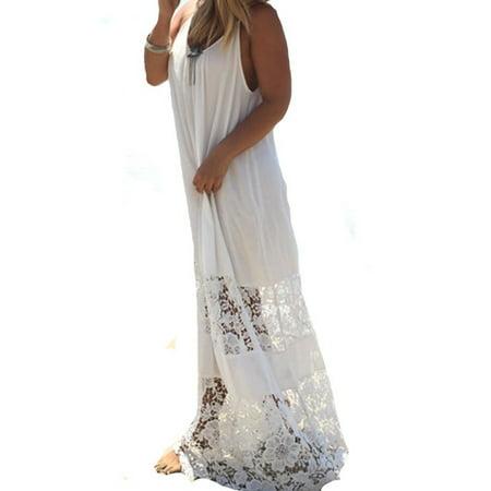 Womens Scoop Neck Low Cut Lace Straps Beach Long Maxi Dresses