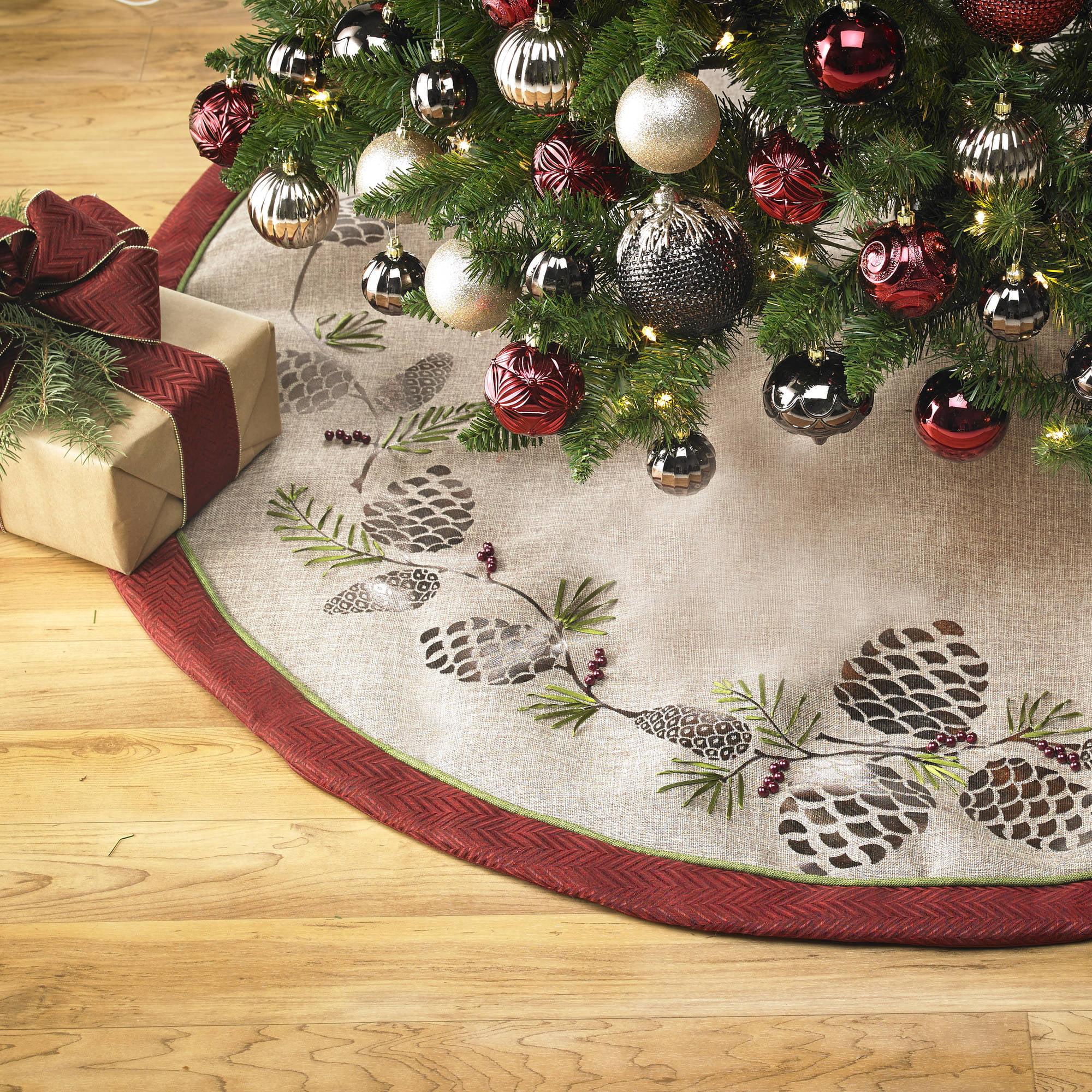 holiday time pinecone skirt walmartcom - Walmart Christmas Tree Skirts