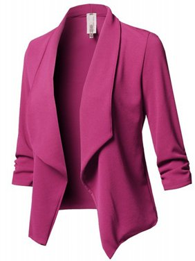 JustVH Women's Long Sleeve Open Front Lightweight Work Office Blazer Jacket