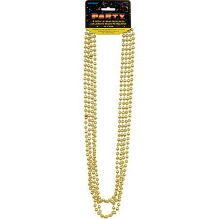 Metallic Mardi Gras Beads, 32 in, Gold, 4ct (Mardi Gras Birthday Party)