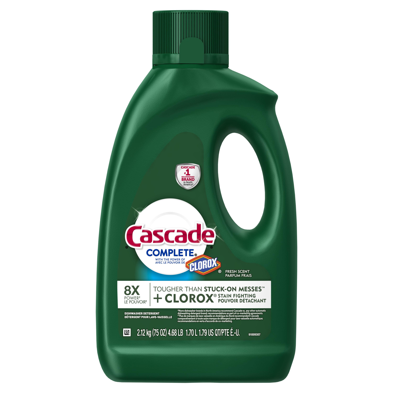Cascade Complete Gel Dishwasher Detergent with the Power of Clorox, Fresh, 75 oz