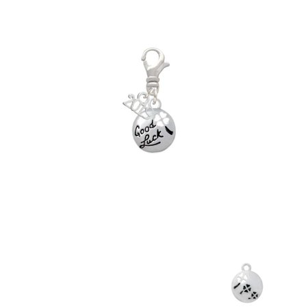 Silvertone Good Luck Disc with Cutout Four Leaf Clover - 2019 Clip on - Metal Leaf Charms