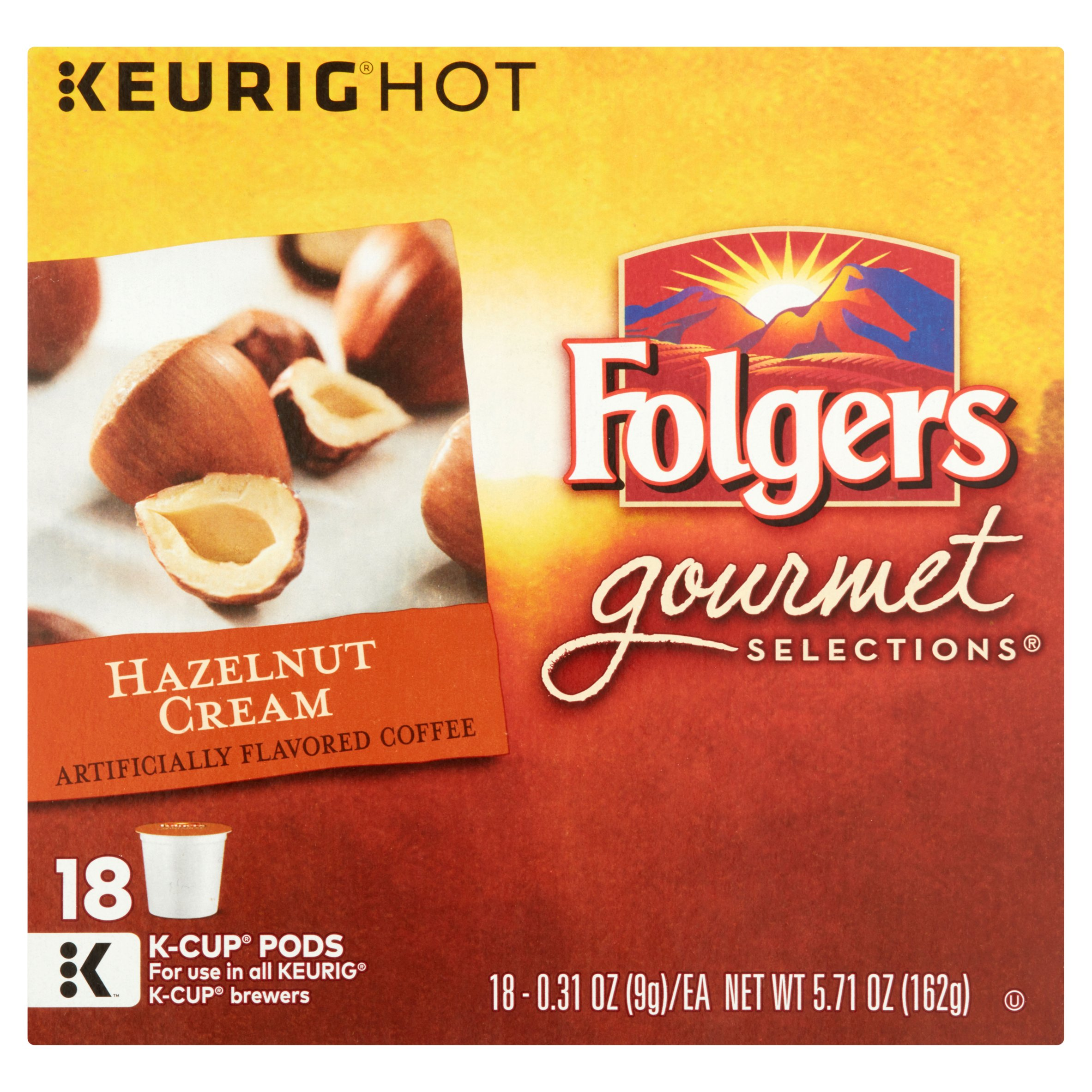 Keurig Hot - Folgers Gourmet Selections, Hazelnut Cream Coffee, K-Cup Pods, 0.31 oz, 18 count