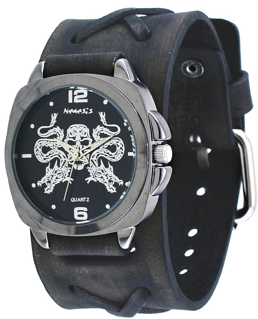 Nemesis KFXB910K Men's Serpent Skull Emblem X Cross Wide Leather Band Watch by