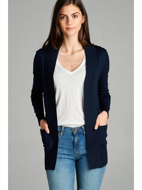 7f33b75ea3a Product Image Women s Cardigan Long Sleeve Open Front Draped Sweater Rib  Banded w  Pockets in Several Colors