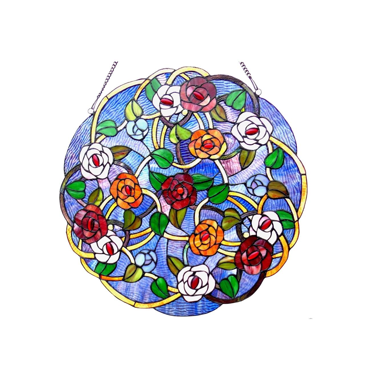 """CHLOE Lighting SHREVEPORT Tiffany-glass Roses Window Panel 24"""""""