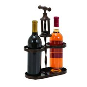 UMA Metal Wine Holder With Traditional Cork-Opener Accent