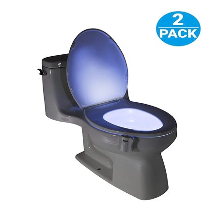 Toilet Night Light(2Pack), 8-Color Led Motion Activated Toilet Seat Light, Fit Any Toilet Bowl,Toilet Bowl Light with Two Mode Motion Sensor LED Washroom Night Light, I5244