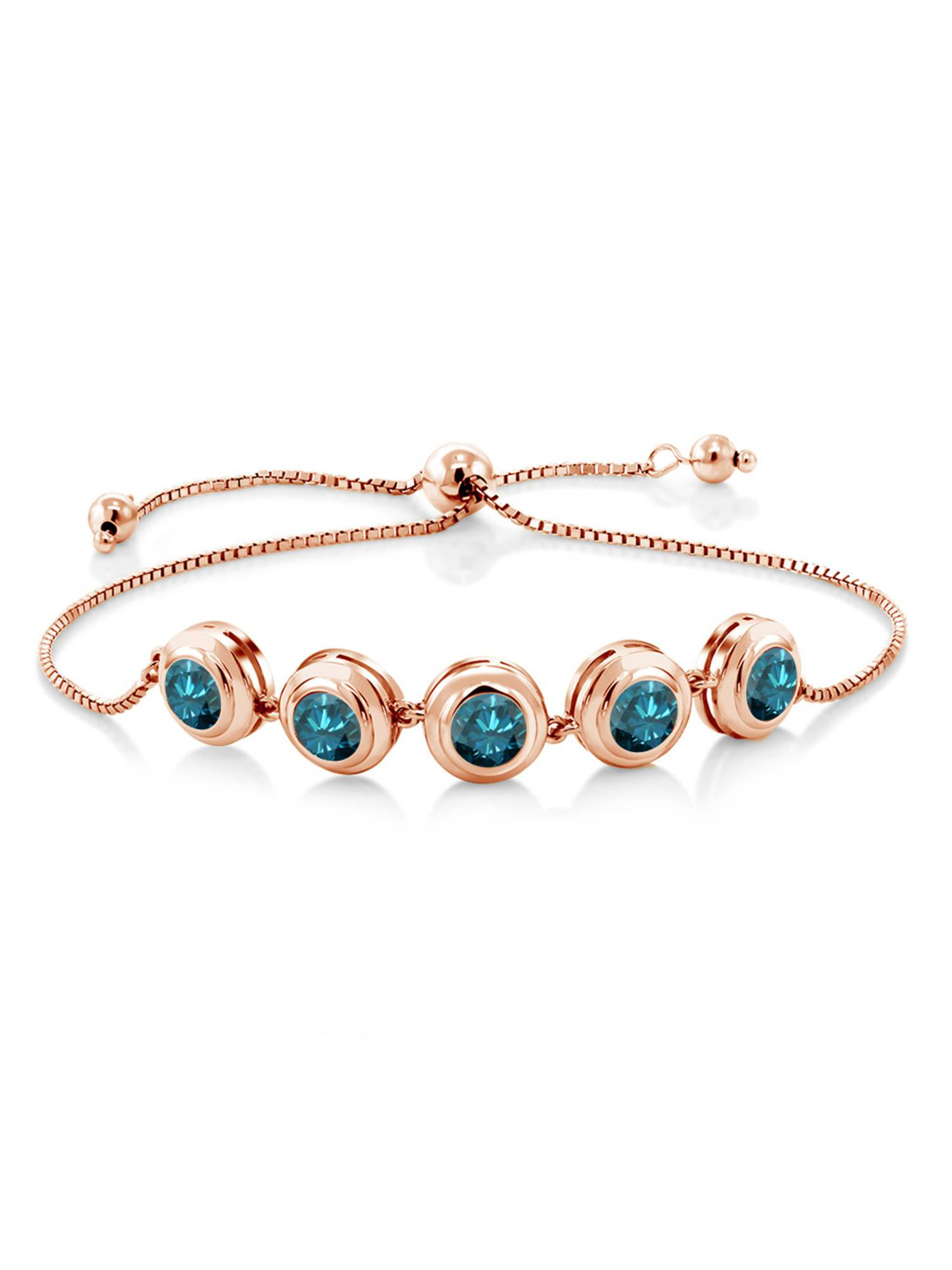 4.00 Ct Round Blue Diamond 18K Rose Gold Plated Silver Bracelet by