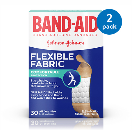 (2 Pack) Band-Aid Brand Flexible Fabric Adhesive Bandages for Wound Care, 30 Count