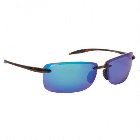 Calcutta Fishing Biscayne Tortoise Frame Blue Mirror Lens Polarized Sunglasses ()