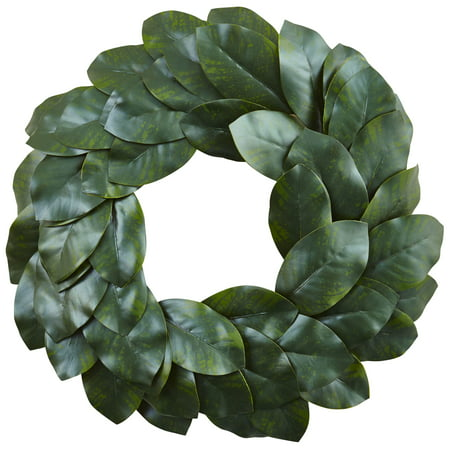 Nearly Natural 24 in. Magnolia Leaf Wreath