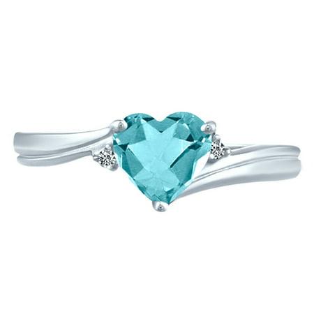 1.06 tcw Aquamarine Heart Cut & Natural Round Cut Diamonds Ring Sterling Silver