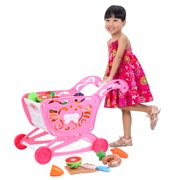 Kids Shopping Cart Toy, Large Shopping Day Grocery Cart Toys with Pretending Vegetables and Fruits for Boys and Girls - Pink