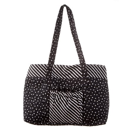 Polka Dot Market Tote (Polka Dot Tote Bag: Black/White, 18 x 13.5)