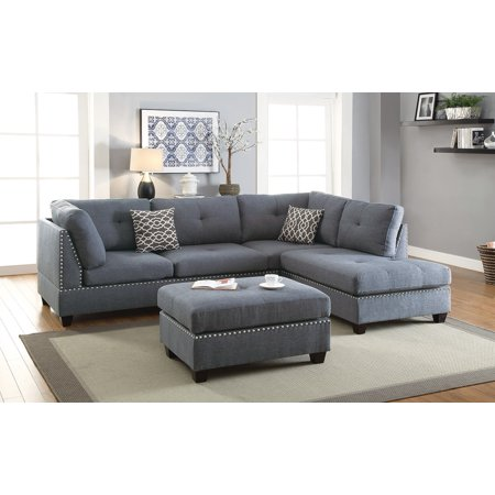 Modern Living Room Blue Grey Nailhead Trim Tufted Polyfiber Sectional Sofa  w Ottoman Sofa reversible L/R Chaise