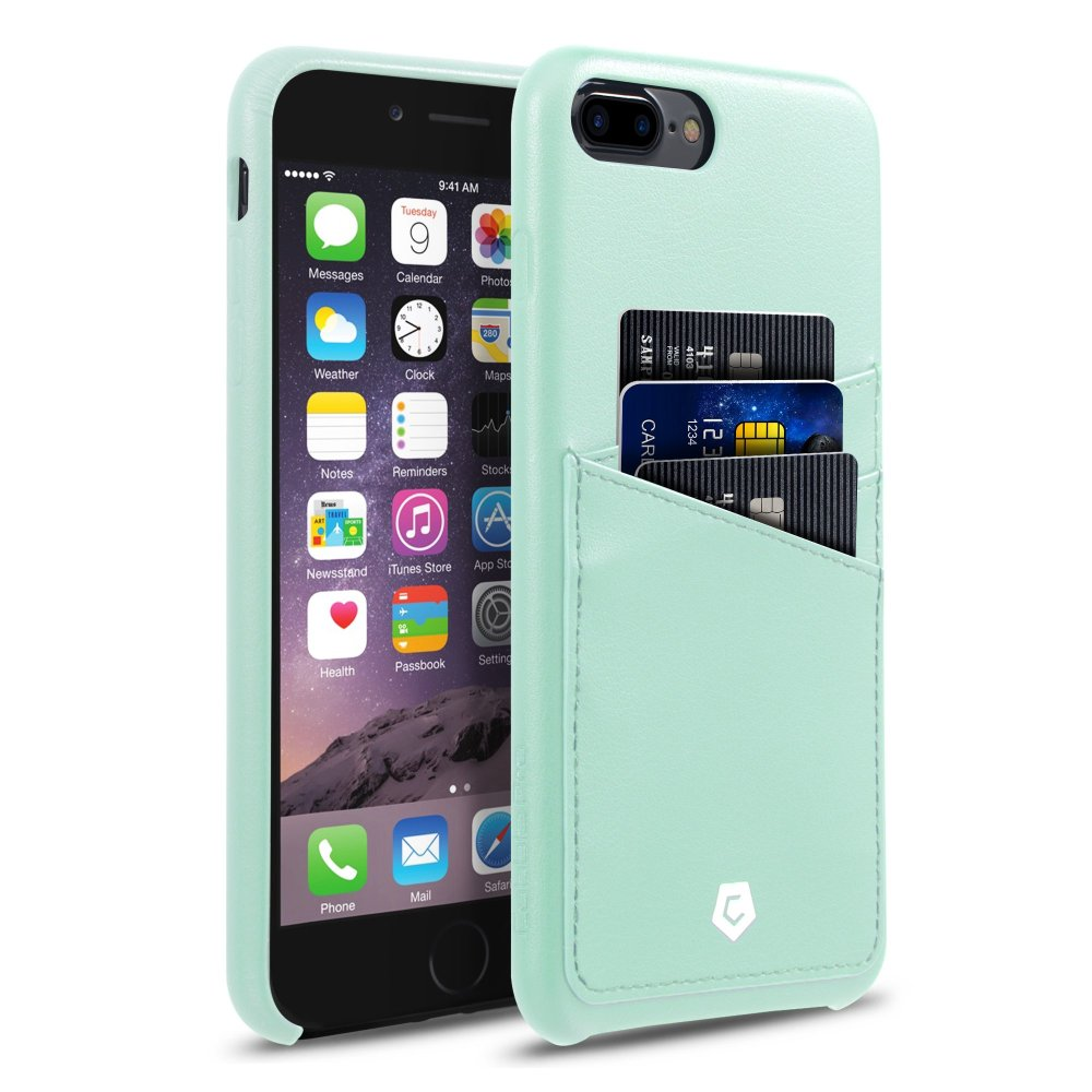 iPhone 8 Plus case, iPhone 7 Plus case, by Cobble Pro Leather Slim Rear Protective Shell Case with Card Slot Wallet Holder for Apple iPhone 8 Plus / iPhone 7 Plus - Mint Green