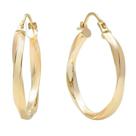 Pori Jewlers 10K Solid Gold Twisted Hoop Earrings