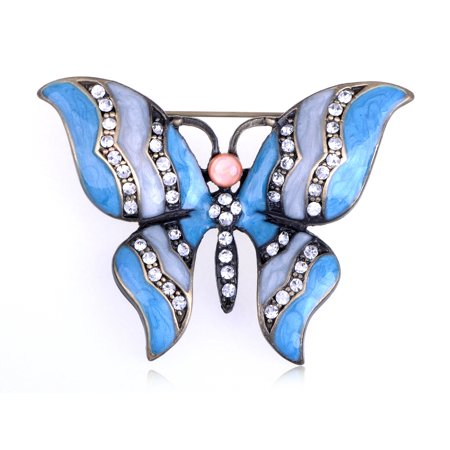 Indigo Blue Crystal Rhinestone Enamel Paint Cat Eye Butterfly Fashion Pin Brooch