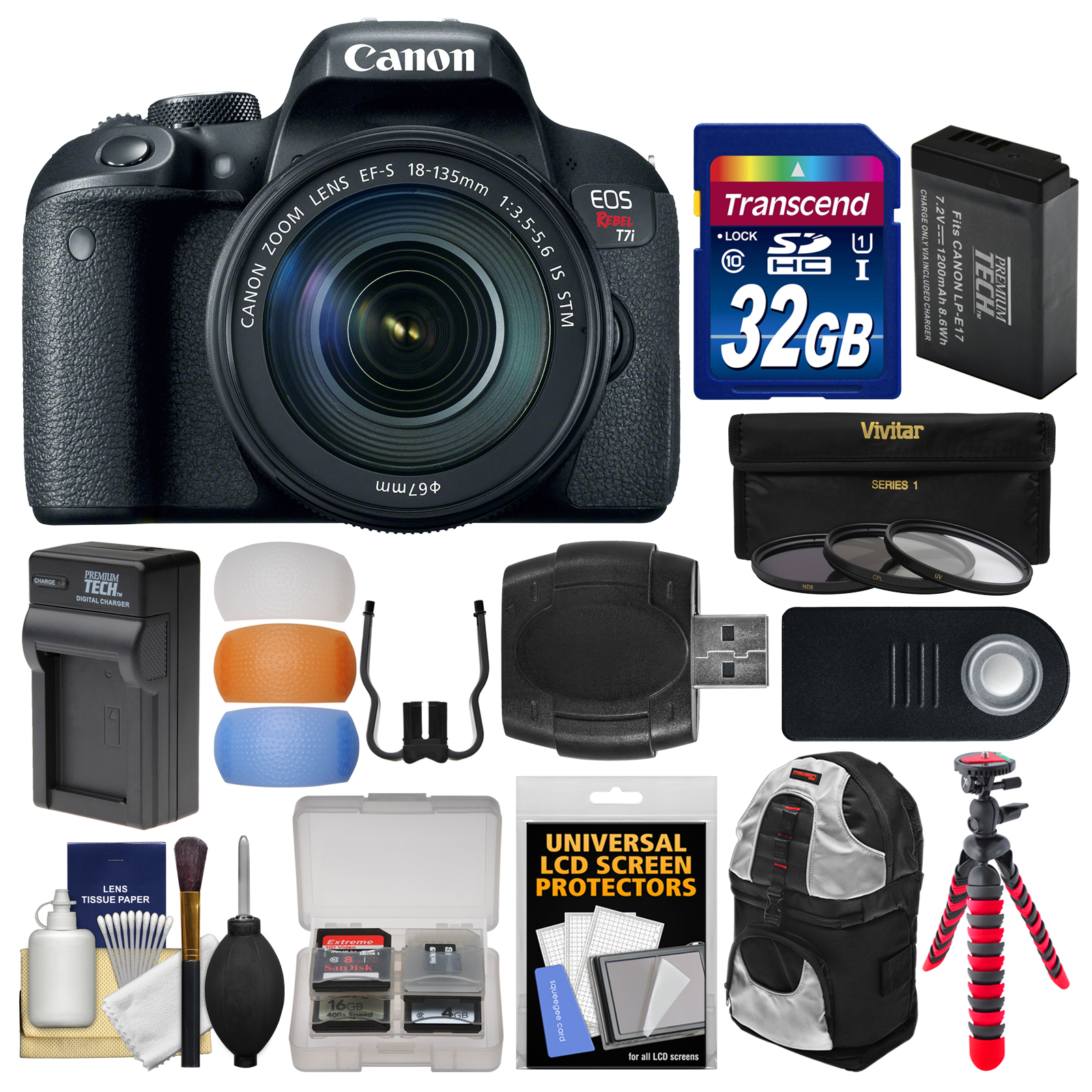 Canon EOS Rebel T7i Digital SLR Camera & EF-S 18-135mm IS STM Lens with 32GB Card + Backpack + Battery & Charger + Tripod + 3 Filters + Remote Kit