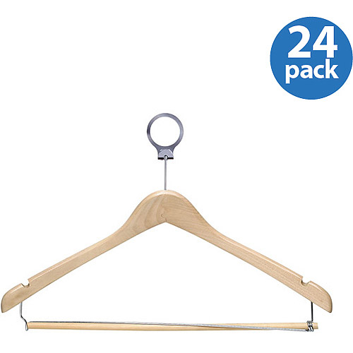 Honey Can Do 24pk Hotel Hangers with Locking Bar, Maple