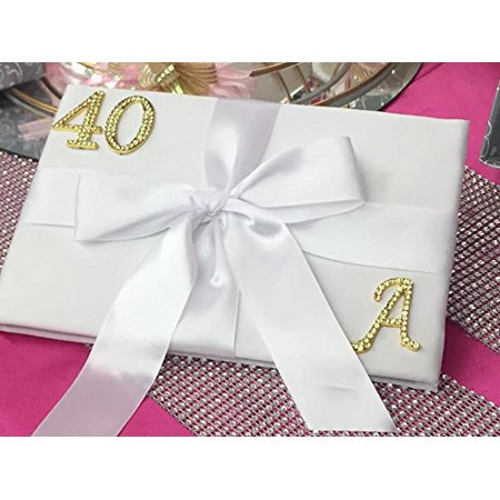 Adult Birthday Anniversary Signature Guest Book With Rhinestone Gold Monogram Number 40 And Letter