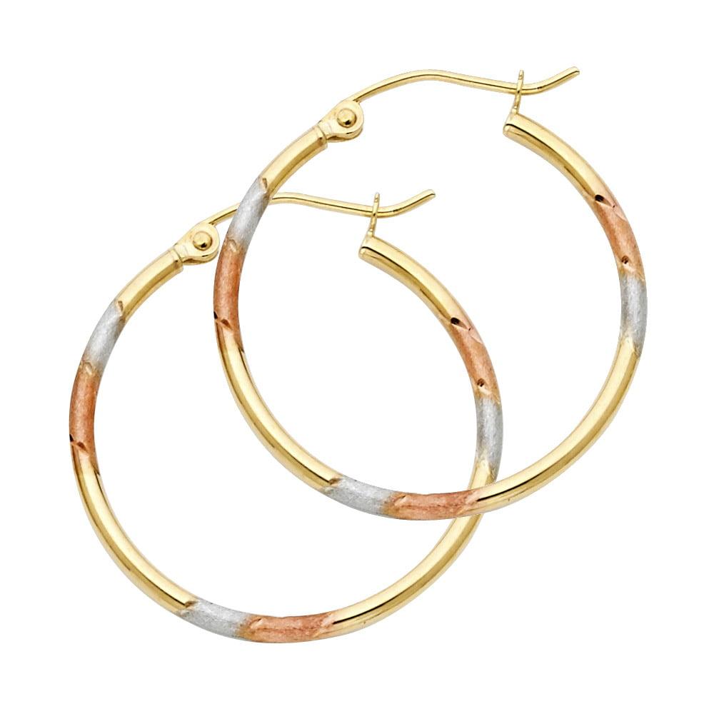 Ioka 14K Tri Color Gold 2mm Thickness Diamond Cut Shape Hoop Hinged Earrings with Heart