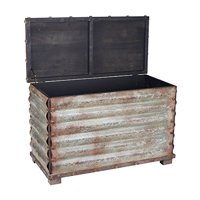 Household Essentials Corrugated Metal Storage Trunk, Rustic Silver, Small
