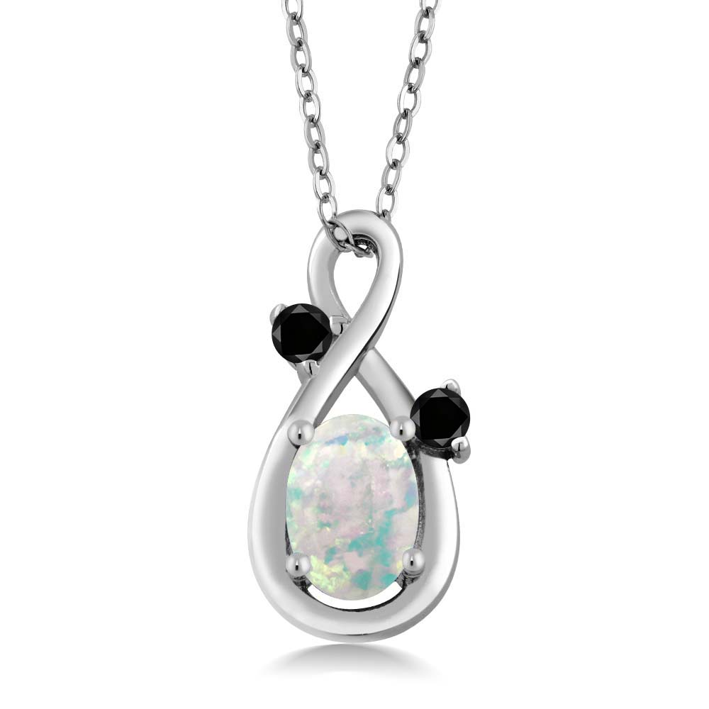 0.70 Ct Oval Cabochon White Simulated Opal Black Diamond 14K White Gold Pendant