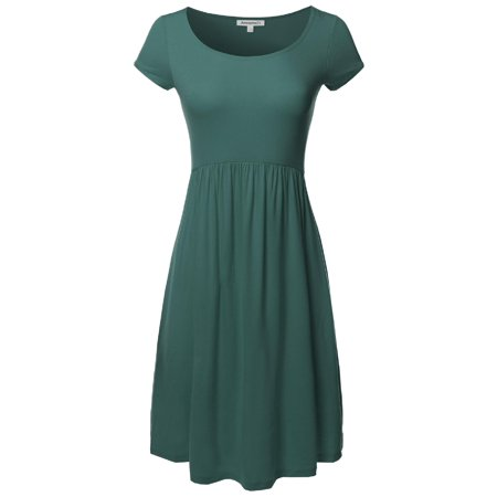 FashionOutfit Women's Solid Cap Sleeves Round Neck Knee Length Midi Dress