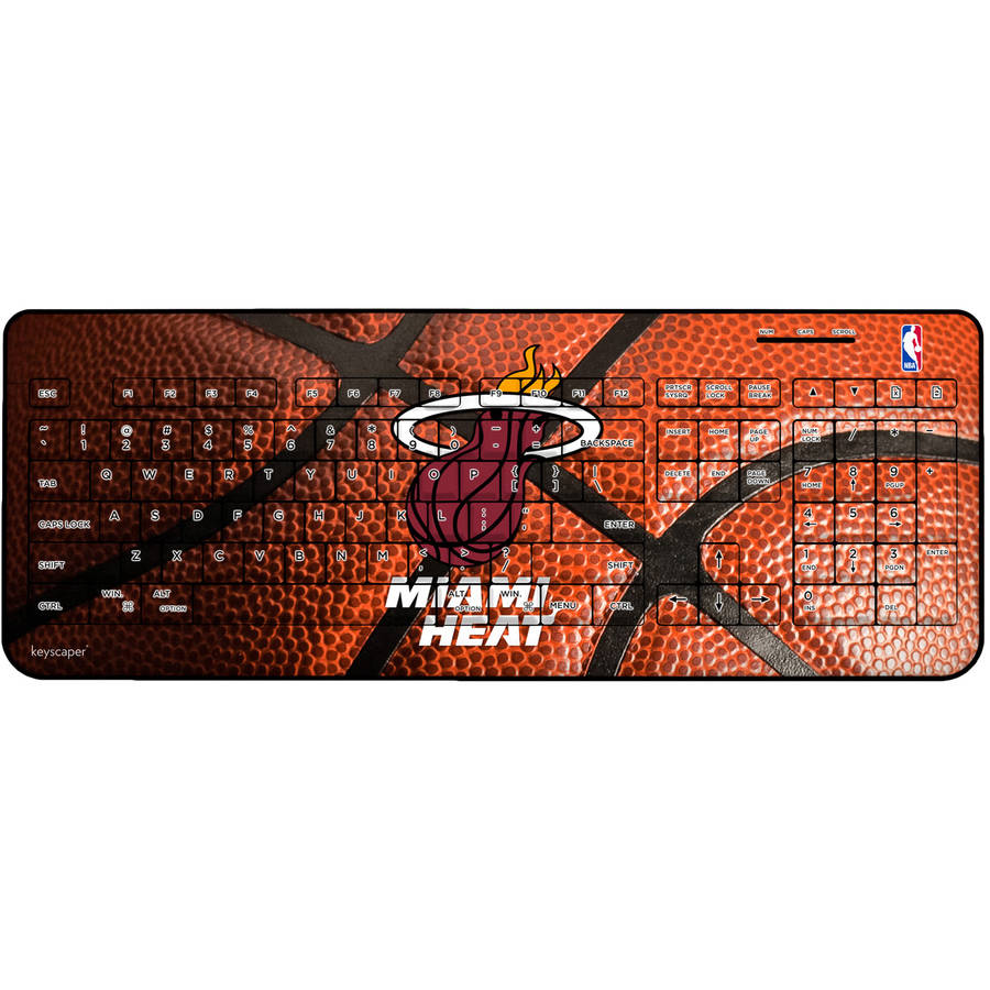Miami Heat Basketball Design Wireless USB Keyboard by Keyscaper