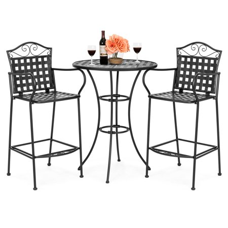 Best Choice Products Woven Pattern Wrought Iron 3-Piece Bar Height Outdoor Bistro Set, Black ()