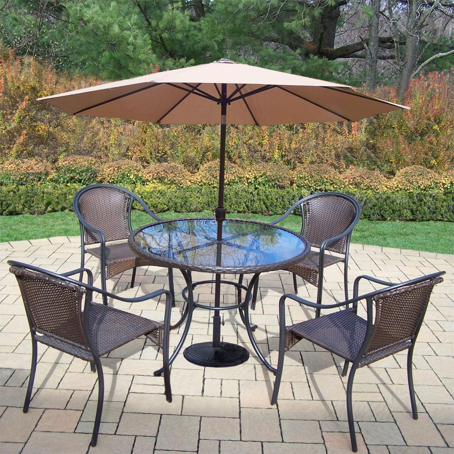 7-Piece Coffee Tuscany All-Weather Resin Wicker Dining Set w/ Tan Umbrella & Weight