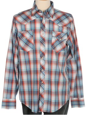 e2146013de4 Product Image Tin Haul Apparel Mens Tin Haul Orange/Blue Plaid Long Sleeve  Snap