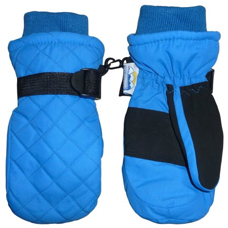 NICE CAPS Kids Unisex Waterproof and Thinsulate Insulated Quilted Ski Snow Winter Mittens - Fits Toddler Boys Girls Youth Little Child Children Sizes For Cold
