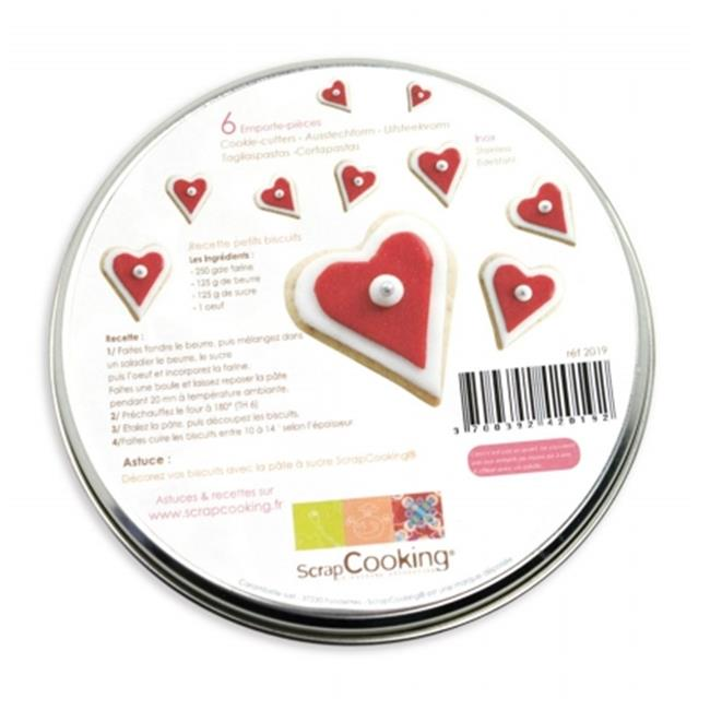 Scrapcooking 2019 Set Of 6 Stainless Steel Hearts Cutters
