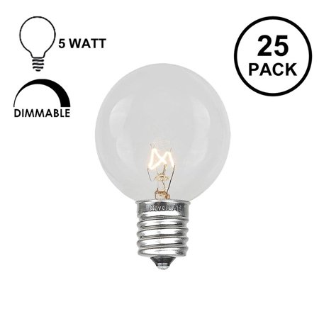 Novelty Lights 25 Pack G30 Outdoor Globe Replacement Bulbs, C7/E12 Candelabra Base, 5 Watt