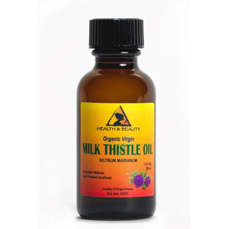 Glass Thistle - MILK THISTLE SEED OIL UNREFINED ORGANIC VIRGIN COLD PRESSED GLASS BOTTLE 1.0 OZ