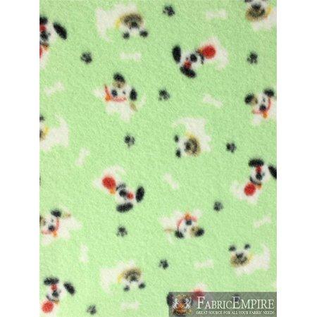 Fleece Fabric Printed ANTI PILL PUPPY PLAY LIGHT GREEN BACKGROUND