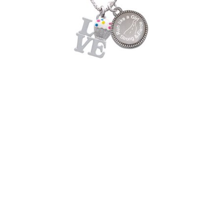 Silvertone Love with Vanilla Cupcake Run Like a Girl - Strong and Fierce Engraved Necklace
