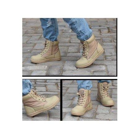 Kids Children Boys Girls Combat Army Military Tactical Casual Cosplay Ankle High Top Boots Soft Comfy Cozy Round Toe - Kids Combat Boot