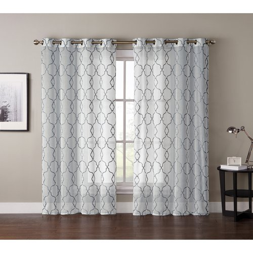 "***DISCONTINUED*** VCNY Home Stockton 84"" Embroidered Sheer Grommet Top Window Curtain Panel"