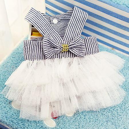 Cute Striped Princess Dress Lace Bowknot Tutu Skirt for Teddy Poodle Bichon Summer Wear Color:Pink Size:M - image 5 de 8