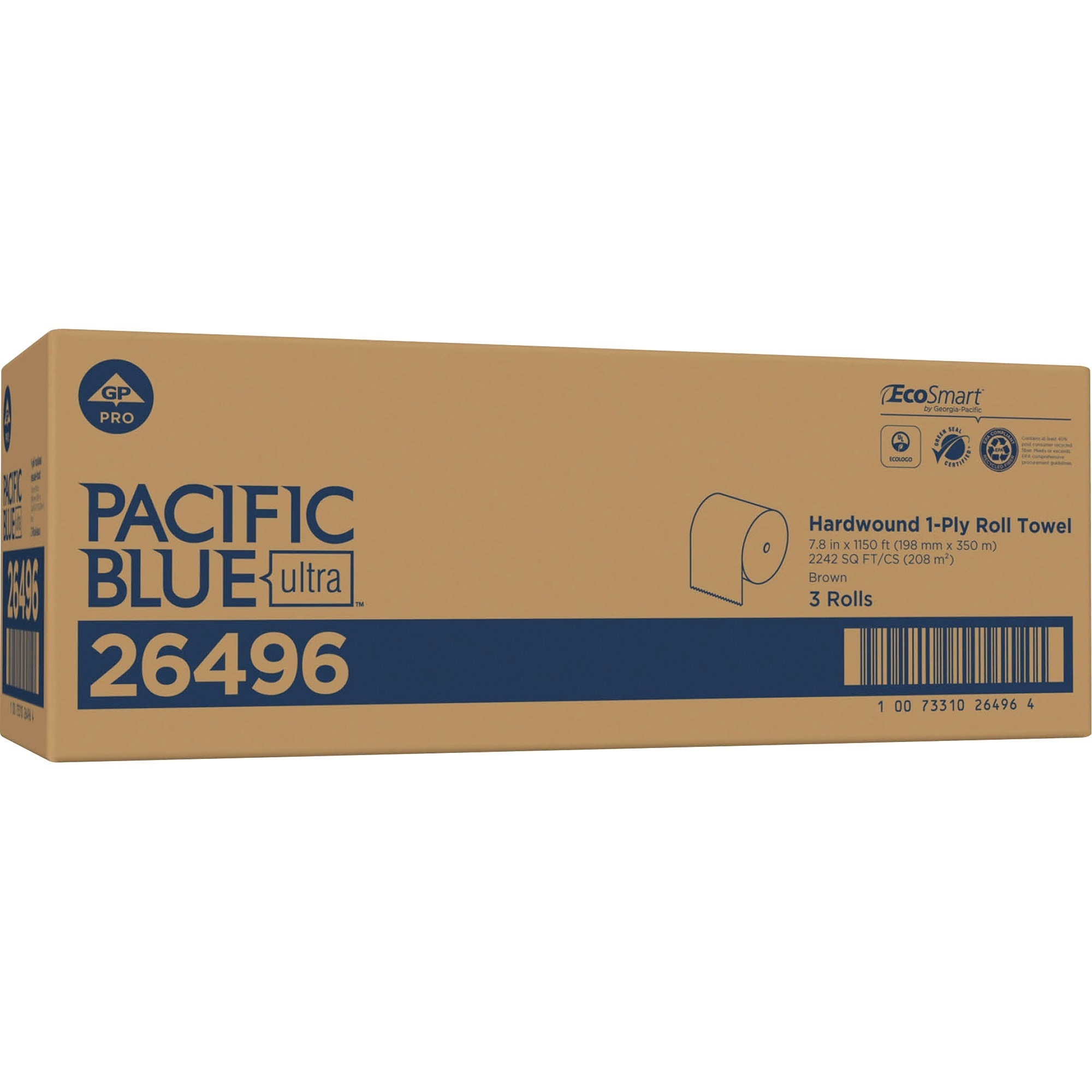 Pacific Blue Ultra, GPC26496, 8Ó High-Capacity Recycled Paper Towel Roll by GP PRO, 3 / Carton, Brown