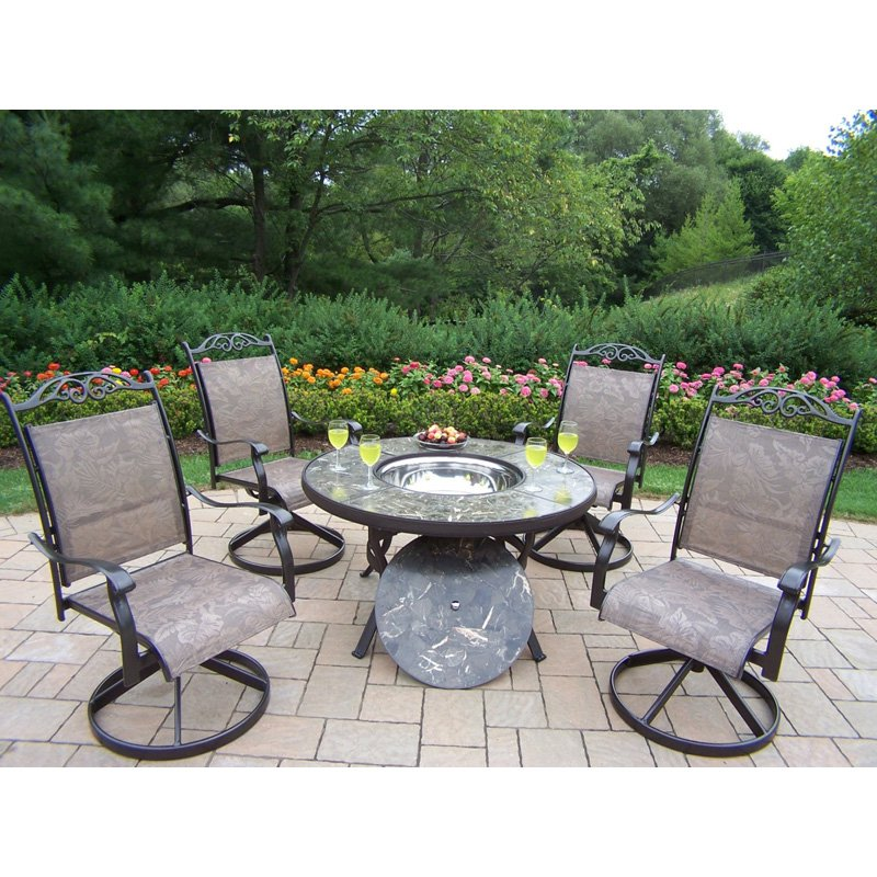 Oakland Stone Art Deep Seating Conversation Set with Ice ...