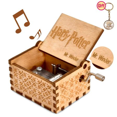 mrwinder Music Box for Hedwig Theme, Merchandise Vintage Classic Wood Hand Crank Carved Best Gift for Kids, Boys, Girls, Friends