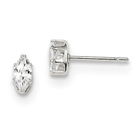 Cubic Zirconia Marquise Stud - Sterling Silver 6x3 Marquise CZ Stud Earrings. (6MM Long x 3MM Wide)