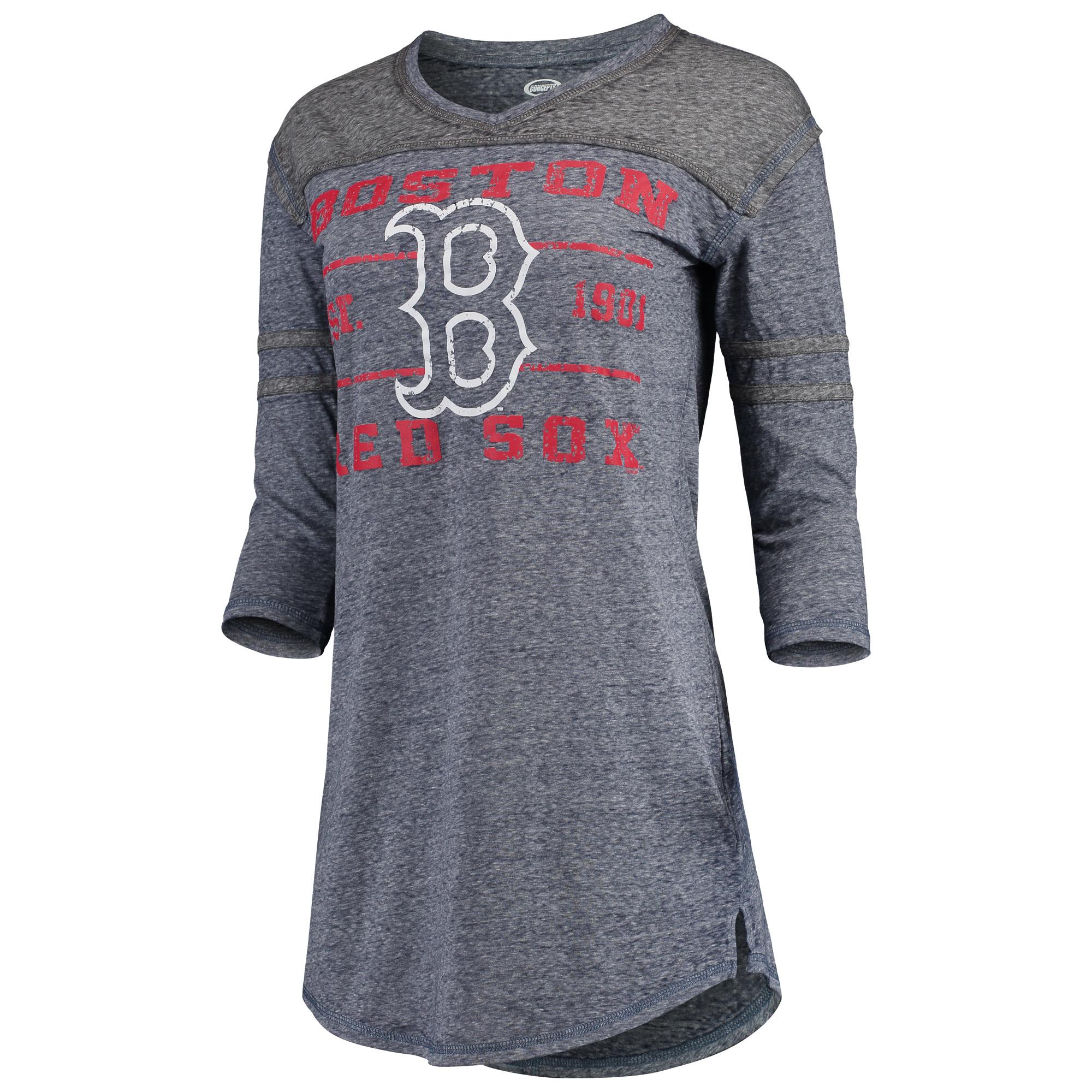 Boston Red Sox Concepts Sport Women's Squad Raglan 3/4-Sleeve Nightshirt - Navy/Charcoal