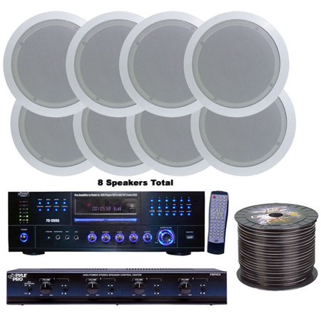 4 Room Home In-Ceiling Speakers W/DVD/MP3 Amp (Best Speakers For Valve Amps)