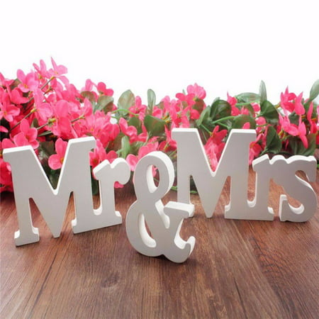 Standing Wooden Mr & Mrs Letters Sign Top Table Centrepiece Wedding Decor - Wooden Wedding Arch For Sale